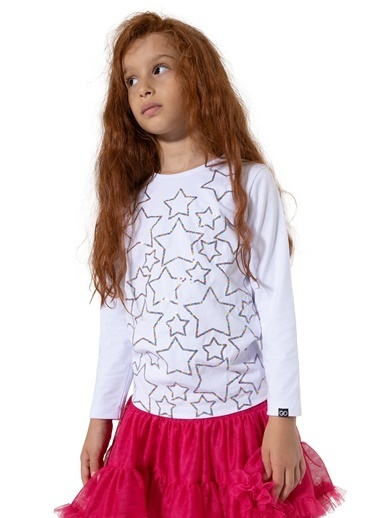 Colorinas Stars Payetli Sweatshirt Beyaz